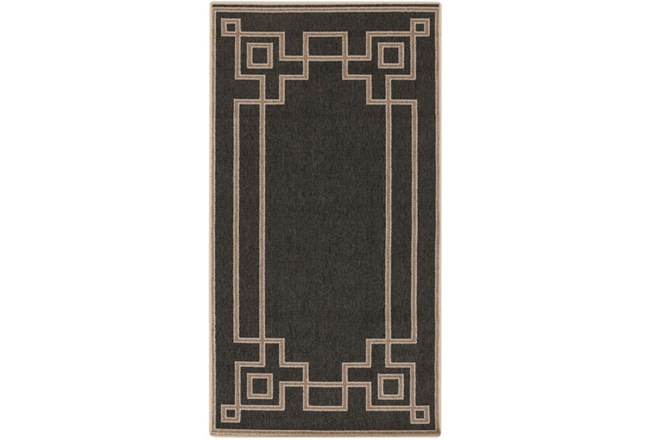 27X54 Outdoor Rug-Greek Key Border Black - 360