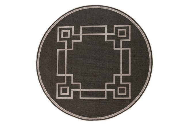 63 Inch Round Outdoor Rug-Greek Key Border Black - 360