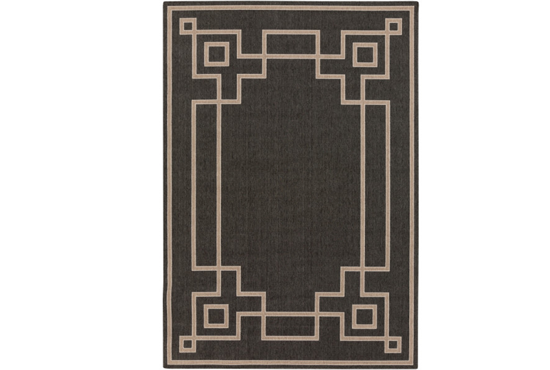 Picture of: 72×108 Outdoor Rug Greek Key Border Black Living Spaces