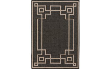 72X108 Outdoor Rug-Greek Key Border Black