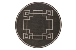 87 Inch Round Outdoor Rug-Greek Key Border Black