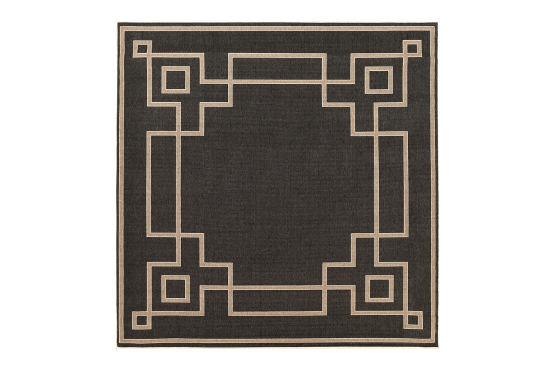 87x87 Square Outdoor Rug Greek Key Border Black Living Spaces