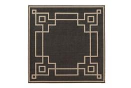 87X87 Square Outdoor Rug-Greek Key Border Black