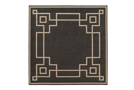 87X87 Square Outdoor Rug-Greek Key Border Black