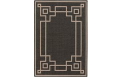 90X129 Outdoor Rug-Greek Key Border Black