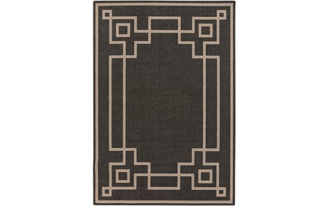 105X153 Outdoor Rug-Greek Key Border Black