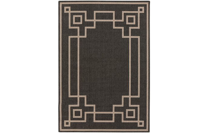 105X153 Outdoor Rug-Greek Key Border Black - 360