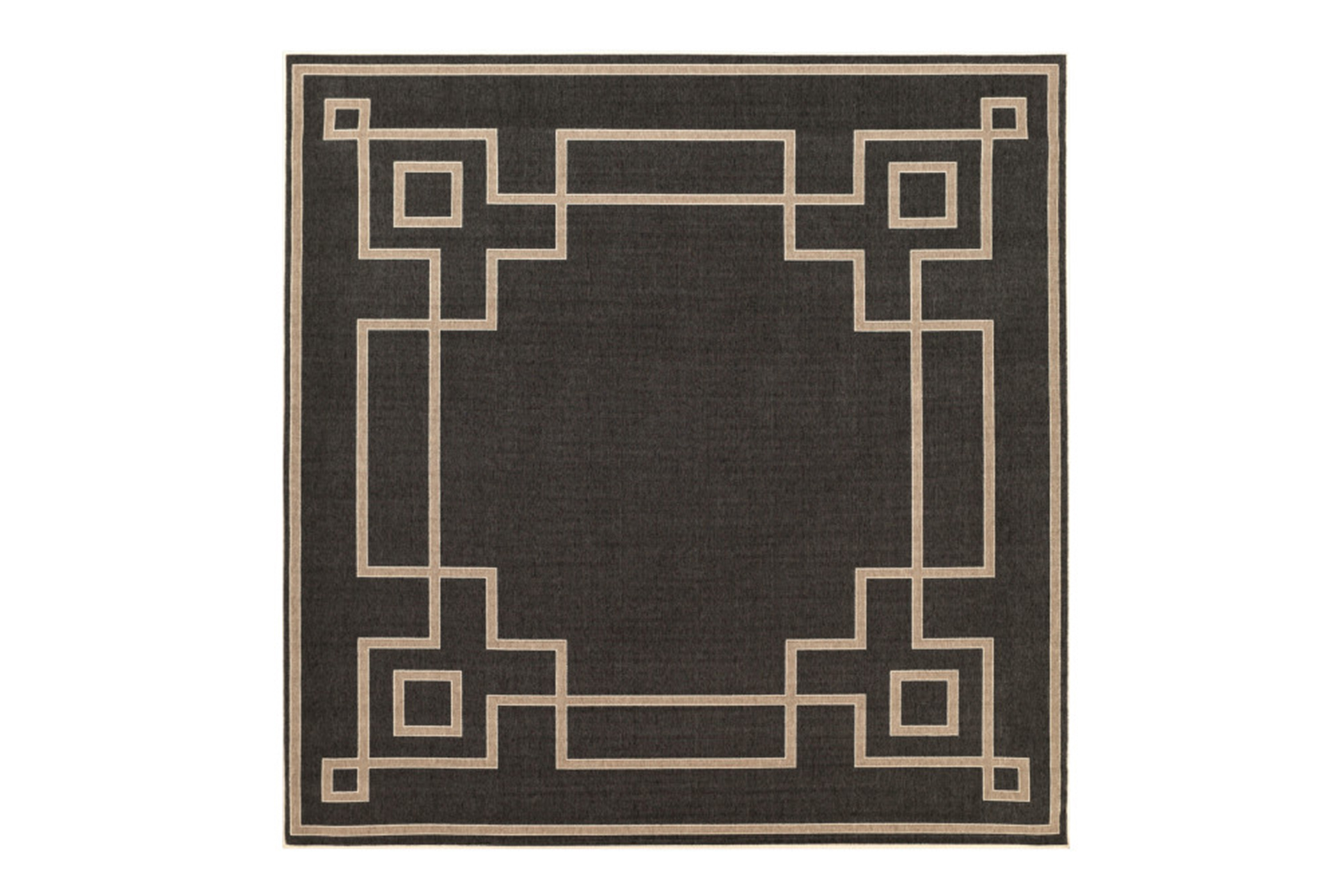 Picture of: 105×105 Square Outdoor Rug Greek Key Border Black Living Spaces