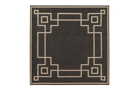 105X105 Square Outdoor Rug-Greek Key Border Black
