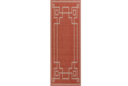 27X141 Outdoor Rug-Greek Key Border Poppy