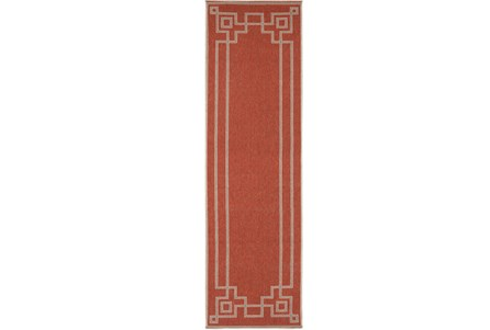 27X93 Outdoor Rug-Greek Key Border Poppy