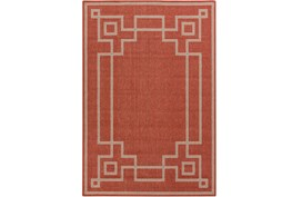 63X90 Outdoor Rug-Greek Key Border Poppy