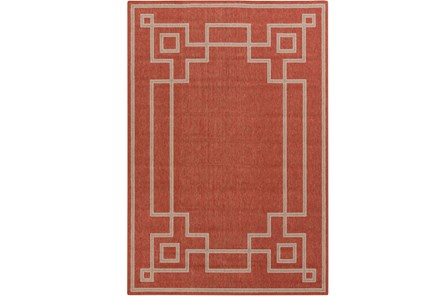 63X90 Outdoor Rug-Greek Key Border Poppy - Main