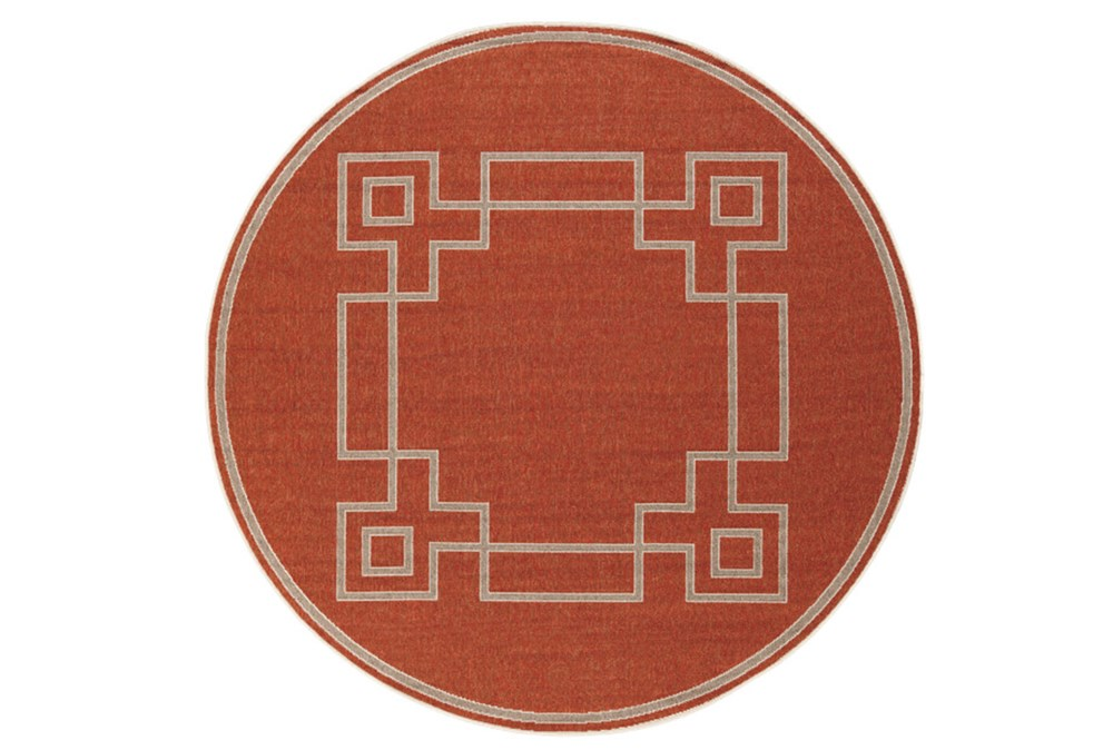 63 Inch Round Outdoor Rug-Greek Key Border Poppy