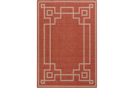72X108 Outdoor Rug-Greek Key Border Poppy