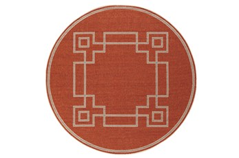 87 Inch Round Outdoor Rug-Greek Key Border Poppy