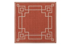 87X87 Square Outdoor Rug-Greek Key Border Poppy