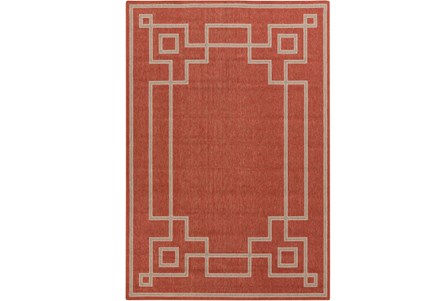 90X129 Outdoor Rug-Greek Key Border Poppy