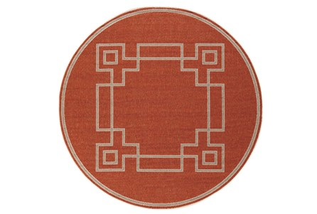 105 Inch Round Outdoor Rug-Greek Key Border Poppy