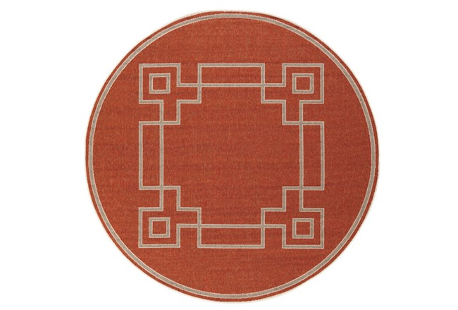 105 Inch Round Outdoor Rug-Greek Key Border Poppy - 360