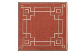 105X105 Square Outdoor Rug-Greek Key Border Poppy