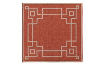 105X105 Square Outdoor Rug-Greek Key Border Poppy