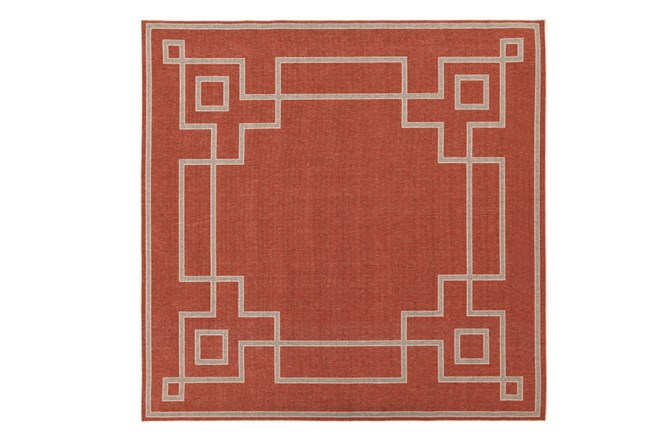 105X105 Square Outdoor Rug-Greek Key Border Poppy - 360