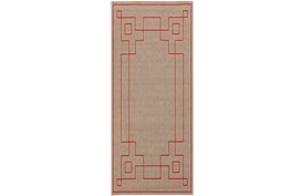 27X141 Outdoor Rug-Greek Key Border Natural/Poppy