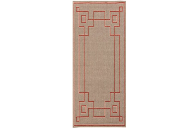 27X141 Outdoor Rug-Greek Key Border Natural/Poppy - 360