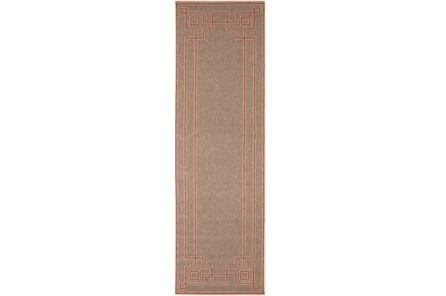 27X54 Outdoor Rug-Greek Key Border Natural/Poppy