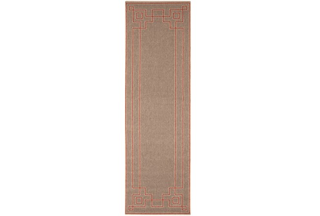27X54 Outdoor Rug-Greek Key Border Natural/Poppy - 360
