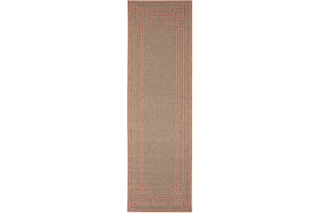27X93 Outdoor Rug-Greek Key Border Natural/Poppy