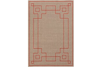 63X90 Outdoor Rug-Greek Key Border Natural/Poppy