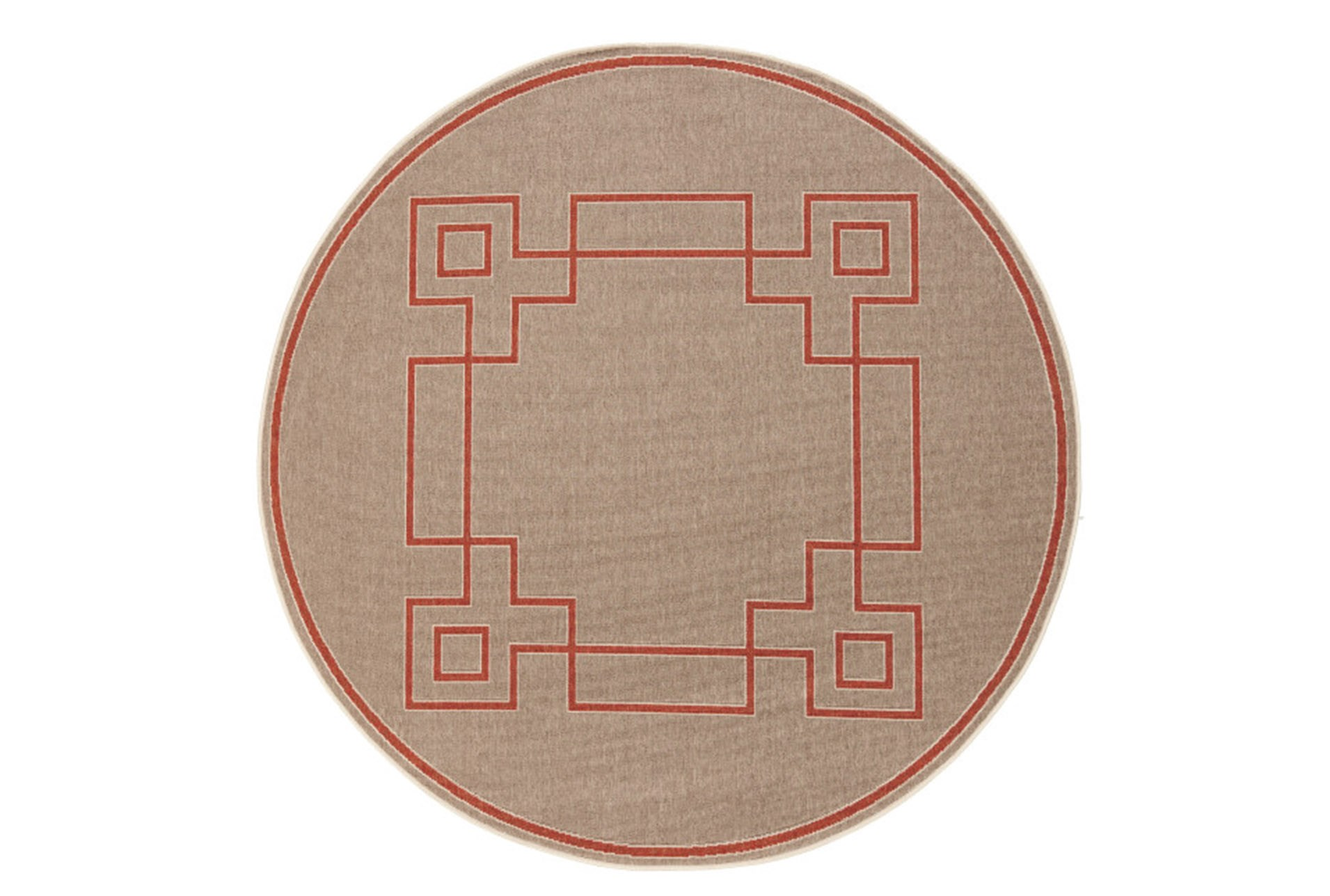 63 Inch Round Outdoor Rug Greek Key Border Natural Poppy Qty 1 Has Been Successfully Added To Your Cart