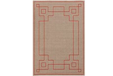 72X108 Outdoor Rug-Greek Key Border Natural/Poppy