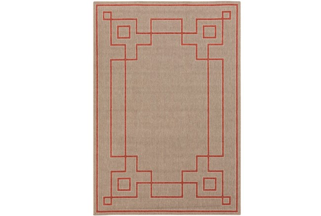 72X108 Outdoor Rug-Greek Key Border Natural/Poppy - 360