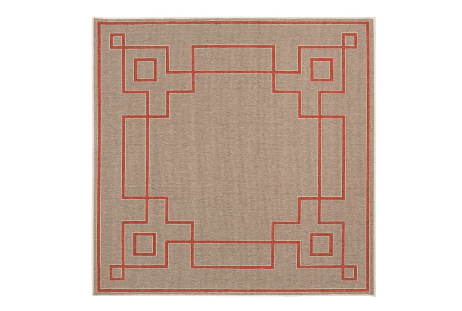 Picture of: 87×87 Square Outdoor Rug Greek Key Border Natural Poppy Living Spaces
