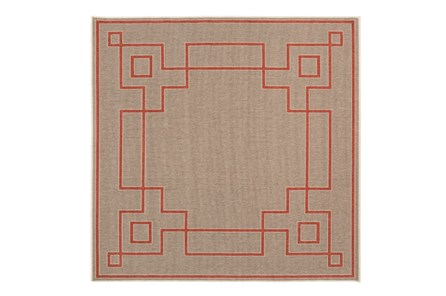 87X87 Square Outdoor Rug-Greek Key Border Natural/Poppy