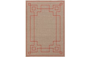 90X129 Outdoor Rug-Greek Key Border Natural/Poppy