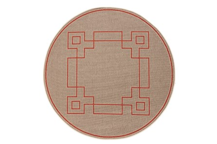 105 Inch Round Outdoor Rug-Greek Key Border Natural/Poppy