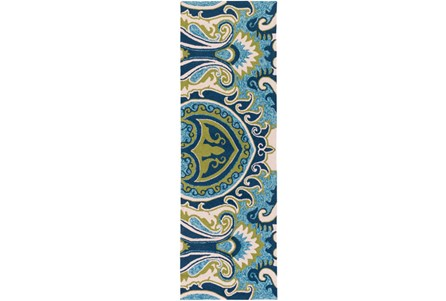 30X96 Outdoor Rug-Surat Aqua/Green