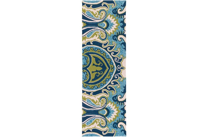 30X96 Outdoor Rug-Surat Aqua/Green - 360