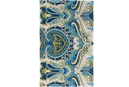 48X72 Outdoor Rug-Surat Aqua/Green