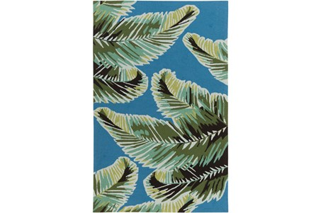 96X120 Outdoor Rug-Samara Palm Blue/Green