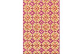 63X87 Outdoor Rug-Kaleidoscope Pink/Saffron