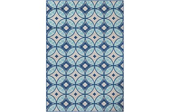 24X36 Outdoor Rug-Kaleidoscope Aqua/Dark Blue