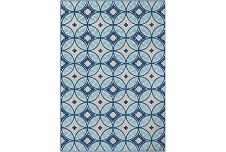 63X87 Outdoor Rug-Kaleidoscope Aqua/Dark Blue