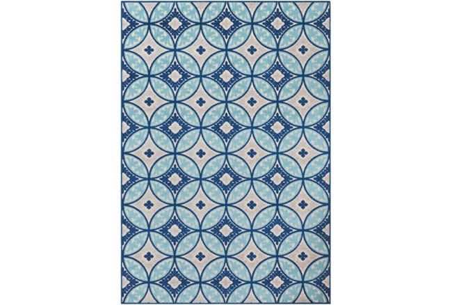 63X87 Outdoor Rug-Kaleidoscope Aqua/Dark Blue - 360