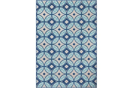 94X123 Outdoor Rug-Kaleidoscope Aqua/Dark Blue