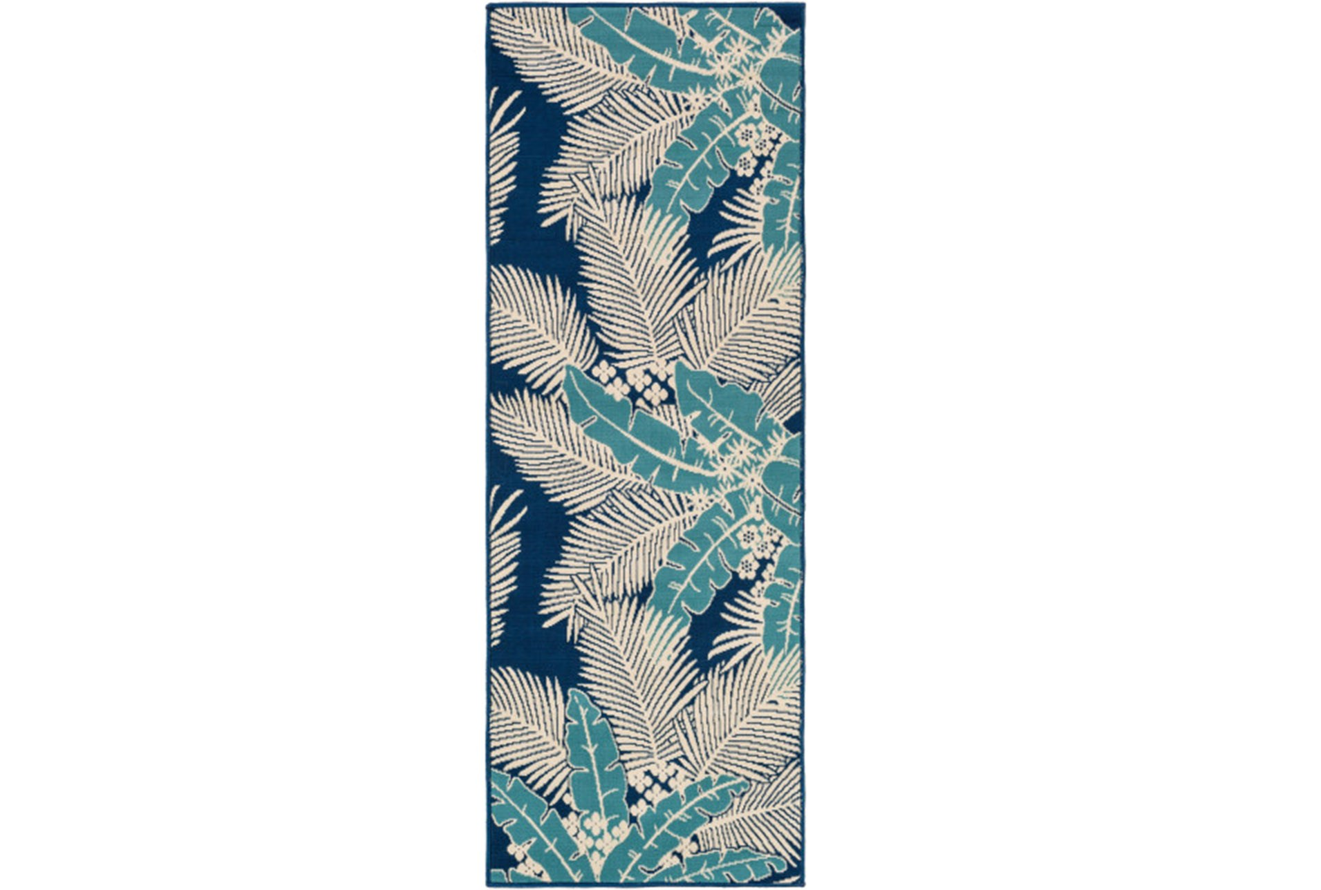 31x87 Outdoor Rug Palm Beach Aqua Navy Living Spaces